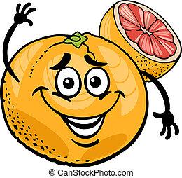 rosso, pompelmo, frutta, cartone animato, illustrazione