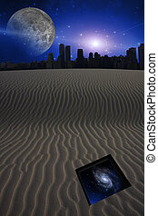 Desert with city and opening to the stars
