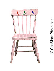 vintage childs chair - vintage pink childs chair with 1 2 3...