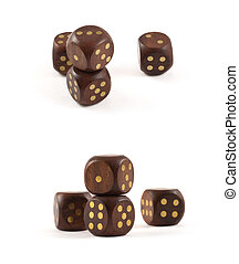 Gambling wooden dice isolated - Gambling wooden dice...