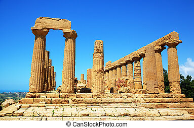 Colonnade of Hera Juno temple in Agrigento Sicily, Italy
