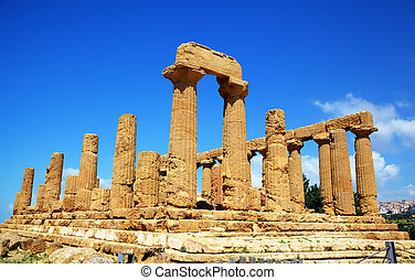 Colonnade of Hera (Juno) temple in Agrigento. Sicily, Italy...
