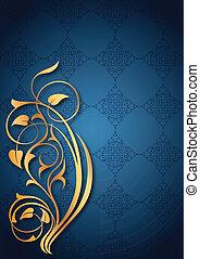 dourado, floral, padrões, azul