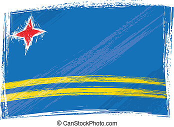 Grunge Aruba flag - Aruba national flag created in grunge...