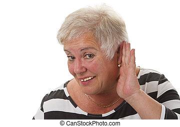 Hardness of hearing - isolated on white background