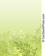 Fresh glowing spring plants vertical background - Vector...