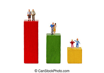 Demography - Standing figurines and Toy Bricks isolated on...