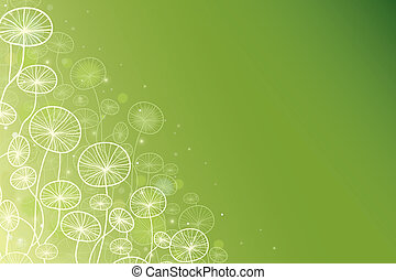 Magical doodle plants horizontal background - vector magical...