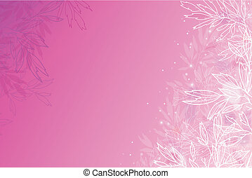 Glowing pink tree branches horizontal background - Vector...
