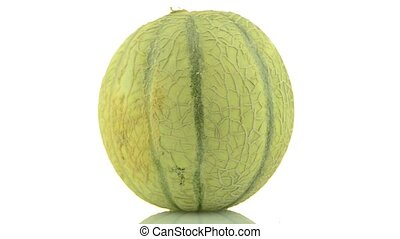 Cantaloupe melon rotating on white background.