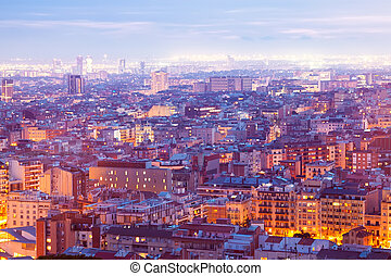 Top night view of Barcelona from high point Catalonia, Spain...