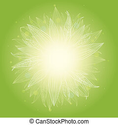Magical green leaves sunburst background - Vector magical...