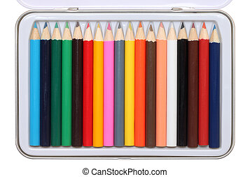 Set of color pencils in metal case on a white background
