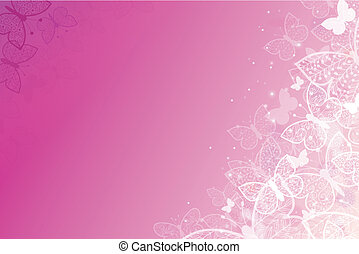 Magical pink butterflies horizontal background - Vector...