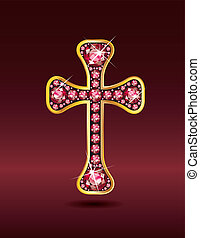 Christian Cross in Gold with Ruby - Stunning Christian Cross...