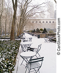 Morning Snow - An early morning snow covers Bryant Park in...