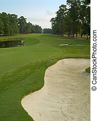 Open Course - A wide view of a sand trap, pond and golf...