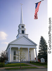 Stowe Community Church and the American Flag, Vermont. -...
