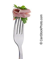 Slice of ham skewered on a fork isolated on white...
