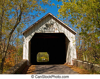Sheards Mill Covered Bridge - An Autumn view of the historic...