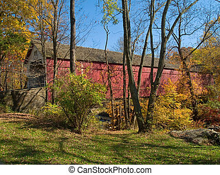 Sheards Mill Covered Bridge 2 - An Autumn view of the...