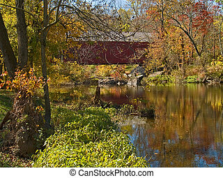 Sheards Mill Covered Bridge 3 - An Autumn view of the...