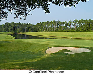 Sand Trap and Pond - A sand trap and pond on this beautiful...