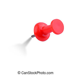 Close up image of red push pin, with clipping path, the...