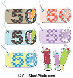 Set of tags for 50th birthday - Collection of tags for...