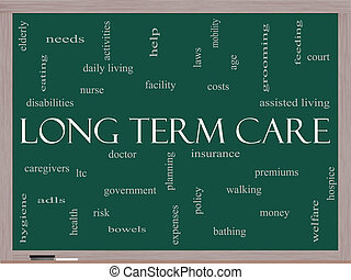 Long Term Care Word Cloud Concept on a Blackboard with great...