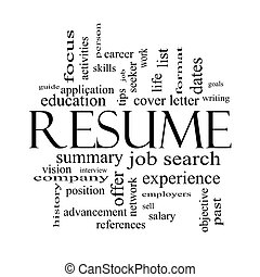 Resume Word Cloud Concept in Black and White - Resume Word...