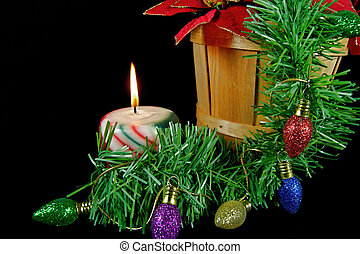 Christmas candle - Candle with garland and holiday...