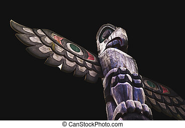 The Old, Mighty Totem - An old, weathered West Coast totem...