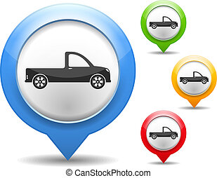 Pickup Truck - Map marker with icon of a pickup truck,...