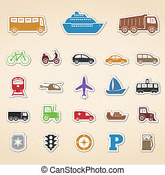 Transport Icons - Set of colored transport icons, vector...