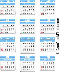 2014 Calendar on white background, vector eps10 illustration