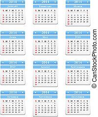 2014 Calendar on white background, vector eps10 illustration