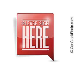 please sign here pin point marker illustration design