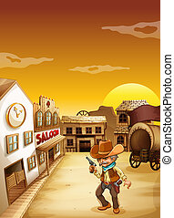 An old cowboy holding a gun outside the saloon -...