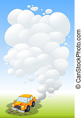 A damaged car releasing smoke - Illustration of a damaged...
