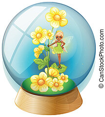 A crystal ball with pink flowers and a fairy