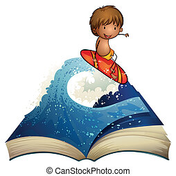 A book with a story about a surfer - Illustration of a book...