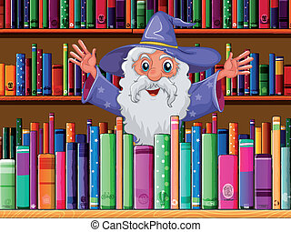 A wizard inside the library - Illustration of a wizard...