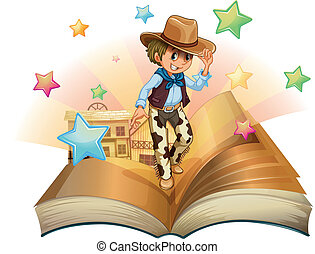 A book with a young cowboy in front of a saloon bar -...