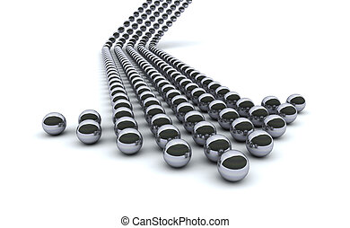 chrome arrow - Concept 3d rendering of chrome balls forming...