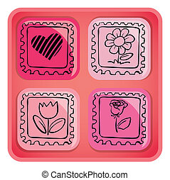 A pink cube with images