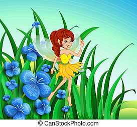 A fairy guarding the flowers - Illustration of a fairy...