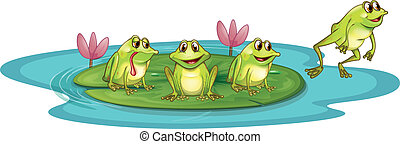 Frogs in the pond - Illustration of the frogs in the pond on...