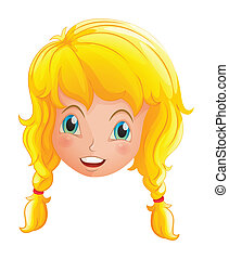 A face of a smiling girl - Illustration of a face of a...