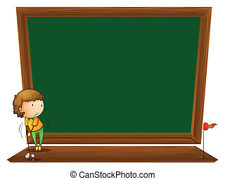 A blackboard with a boy playing golf